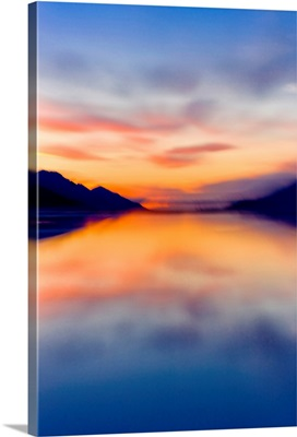 Sunset colors reflected in the waters of Turnagain Arm
