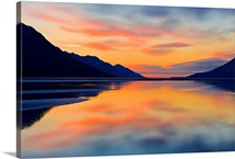 Sunset colors reflected in the waters of Turnagain Arm during Fall
