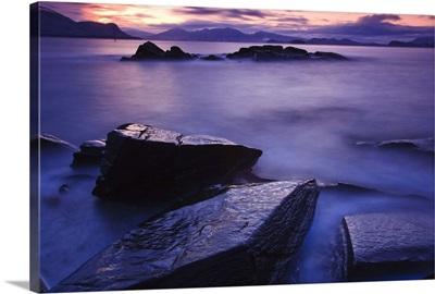 Sunset illuminates fish petroglyph, Wrangell Island, Southeast Alaska