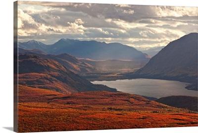 Sunset Light Over Mountains Around Fish Lake, Whitehorse, Yukon, Canada