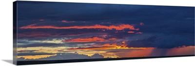 Sunset lit clouds over Grasslands National Park, Saskatchewan, Canada