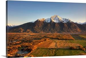 Sunset On Pioneer Peak And Farm Fields Near Palmer Alaska During Autumn Wall Art