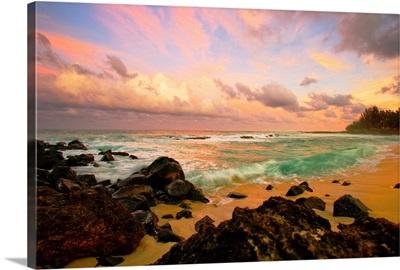 Sunset Over A Rocky Beach, Hawaii