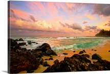 Sunset Over A Rocky Beach, Hawaii
