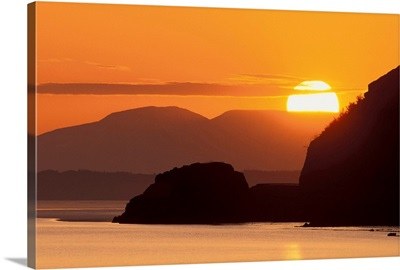 Sunset Over Alaska Range and Cook Inlet, Turnagain Arm, Southcentral, Alaska