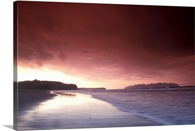 Sunset Over Beach at Pasagshak Bay Kodiak Island