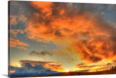 Sunset Over Dawson Peaks, Teslin, Yukon, Canada