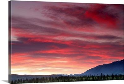 Sunset Over Mountains Along The Alaska Highway, Yukon, Canada