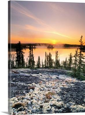 Sunset Over Subarctic Lake, Northwest Territories, Canada