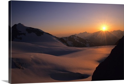 Sunset Over The Matier Glacier Coast Mountains, British Columbia, Canada