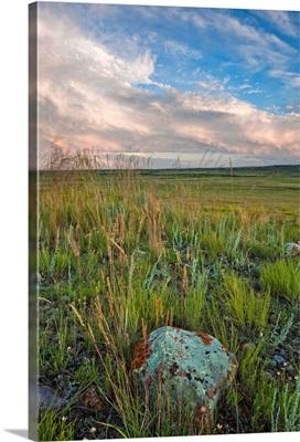 Sunset over the prairies in Grasslands National Park, Saskatchewan, Canada