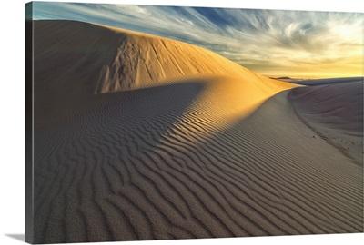 Sunset over the white sand desert in Namakwa National Park, South Africa