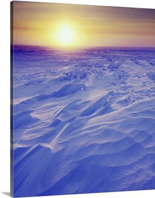 Sunset Over Wind-Carved Snow Drifts, North Slope, Alaska