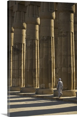 Temple Guard Walking Past Columns In Court Of Amenophis Iii