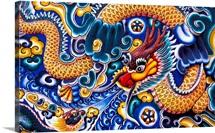 Thailand, Ayuthaya, Bang Pa-In Palace, Brightly Painted Chinese Dragon