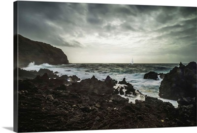 The Atlantic Coast With A Yacht In A Storm, Sao Miguel Island, Azores, Portugal