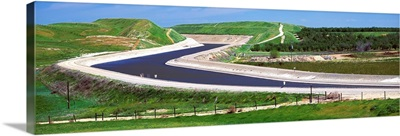 The California Aqueduct winds through California's Central Valley agricultural land
