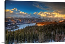 The Chugach Mountian Range At Sunset, Southcentral Alaska
