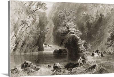 The Dargle, County Wicklow, Ireland, Engraved By J.C.Bentley. C.1841