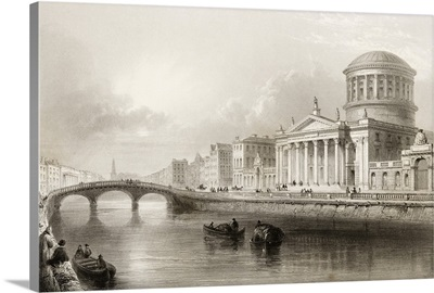 The Four Courts, Dublin, Ireland, Engraved By E.J. Roberts. C.1841