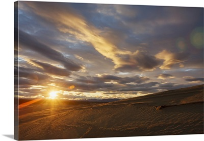 The Great Kobuk Sand Dunes With The Shadows Of The Arctic Midnight Sunset