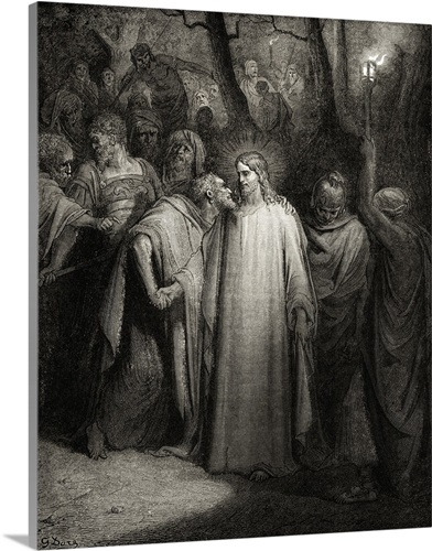 The Kiss Judas Iscariot Kisses Jesus Christ In Garden Of Gethsemane 1880