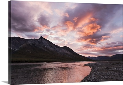 The Noatak River At Sunset, Brooks Range, Arctic Alaska, Summer