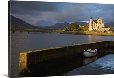 The Old Barracks With A Boat Moored To The Harbour Wall, Caherciveen, Ireland
