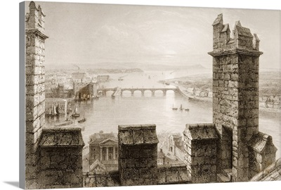 The Shannon From The Tower Of Limerick Cathedral, Ireland. By T. Higham. C.1841