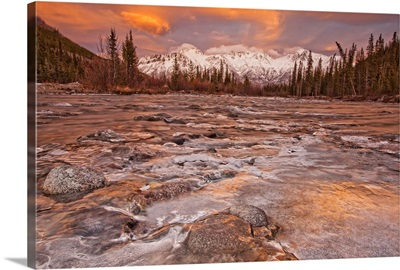 The Wheaton River In Early Winter Snow Covered Mountains, Yukon, Canada