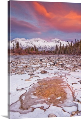 The Wheaton River In Early Winter With The Clouds Lit By Sunset Light, Yukon, Canada