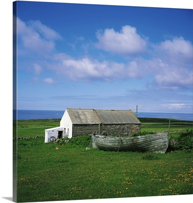 Tory Island, Co Donegal, Ireland, Cottage And Boat