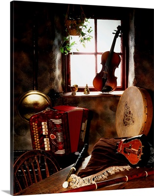 Traditional Musical Instruments In Old Cottage, Ireland
