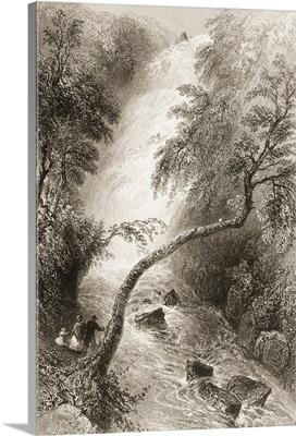 Turk Cascade, Killarney, County Kerry, Ireland. C.1841