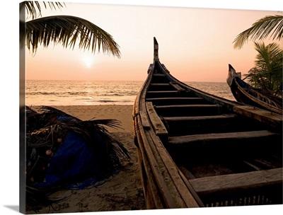 Two Canoes On The Beach At The Arabian Sea, Kerala, India