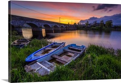 Two Small Wooden Boats, Shannon River, O'Brien's Bridge, County Clare, Ireland