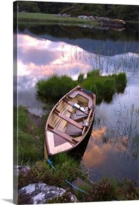 Upper Lake, Killarney National Park, County Kerry, Ireland; Boat At Sunset