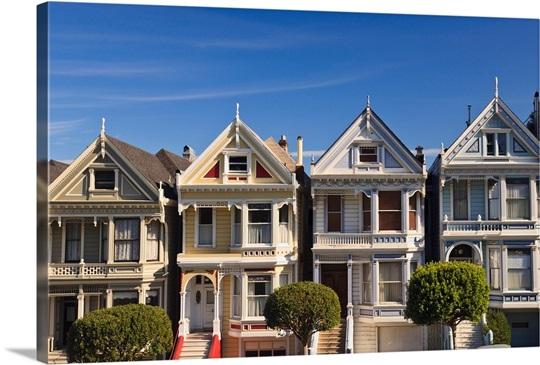 Victorian Style Homes Near Alamo Square San Francisco California USA