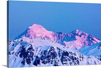 View of dawn alpenglow on the North and South summits of Mount McKinley