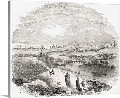 View Of Dublin, Ireland, In The 17th Century