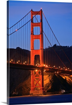 View Of Golden Gate Bridge At Dusk; San Francisco, California, USA