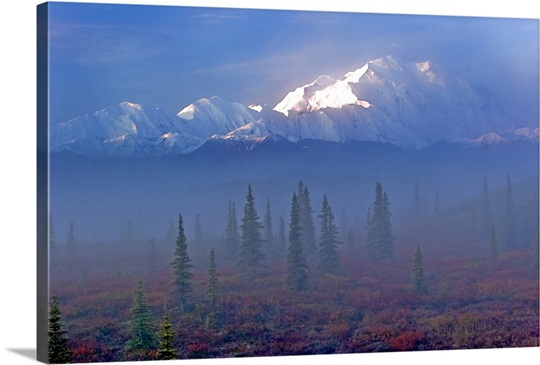 View of Mt. McKinley in the early morning fog, Interior Alaska
