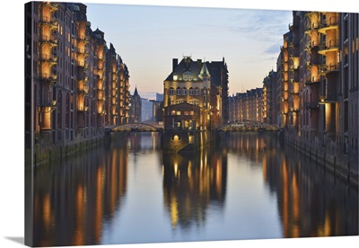 View Of Speicherstadt With River Elbe At Dusk, Hamburg, Germany