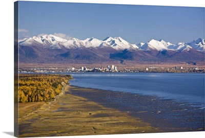 View of the Anchorage skyline looking southeast from Point Mackenzie over Knik Arm