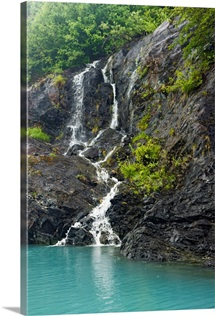 View of waterfalls in Passage Canal, Whittier, Southcentral Alaska, Summer