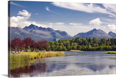 View over Westchester Lagoon and the Chugach Mountains during Summer