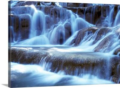 Water And Rock At Dunns River Falls, Close Up
