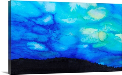 Watercolor painting of a dramatic sky with blue clouds and silhouette of a landscape