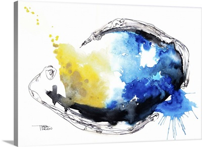 Watercolour abstract painting with a fish shape