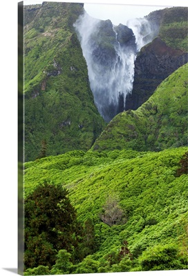 Waterfall on Flores Island, Acores, Portugal